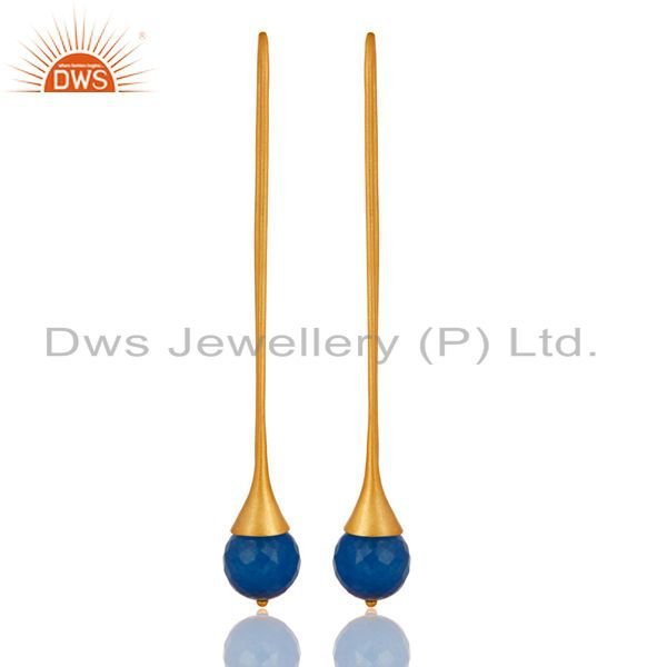 18K Gold Plated Sterling Silver Dyed Blue Chalcedony Gemstone Dangle Earrings