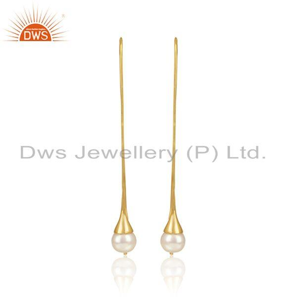 New Arrival Gold Plated 925 Silver Natural Pearl Gemstone Earring