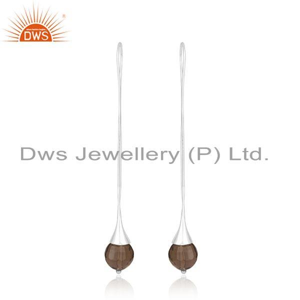 Smoky Quartz Gemstone Handmade Fine Sterling Silver Earrings Wholesale