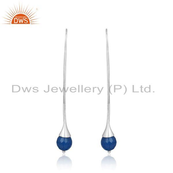 Blue aventurine ball designer long drop earring in solid silver