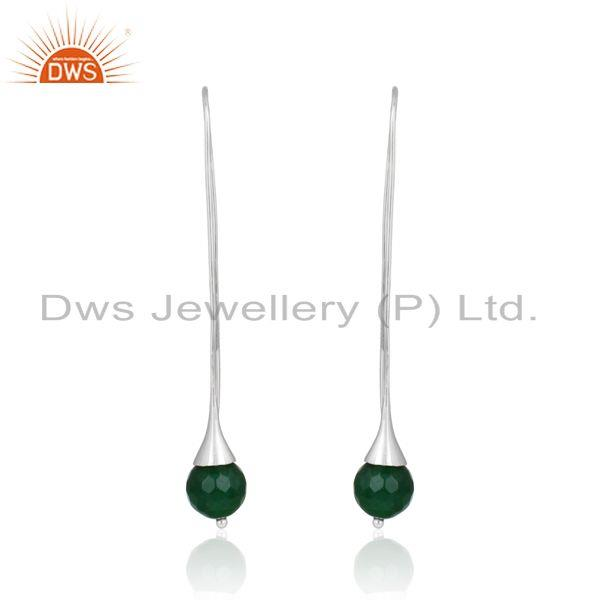 Green aventurine ball designer long drop earring in solid silver