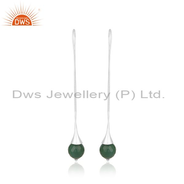 Green Onyx Gemstone Designer Fine Sterling Silver Earrings Wholesaler
