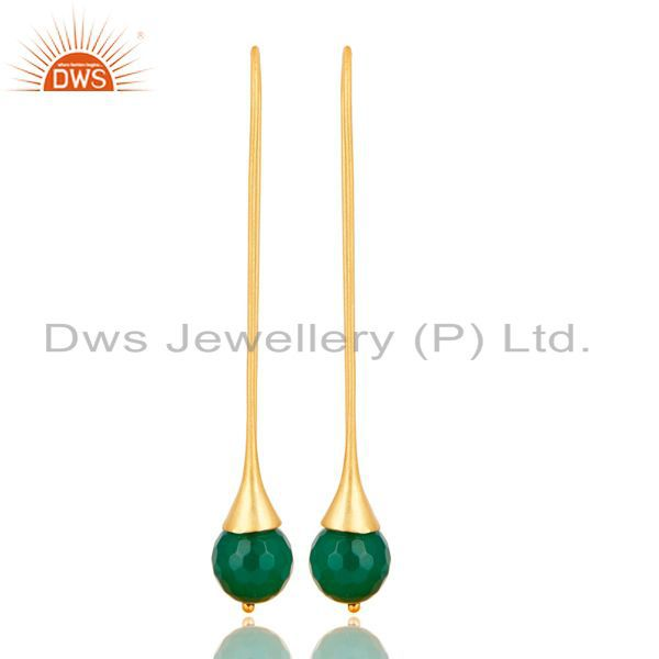 18K Yellow Gold Plated 925 Sterling Silver Faceted Green Onyx Dangle Earrings