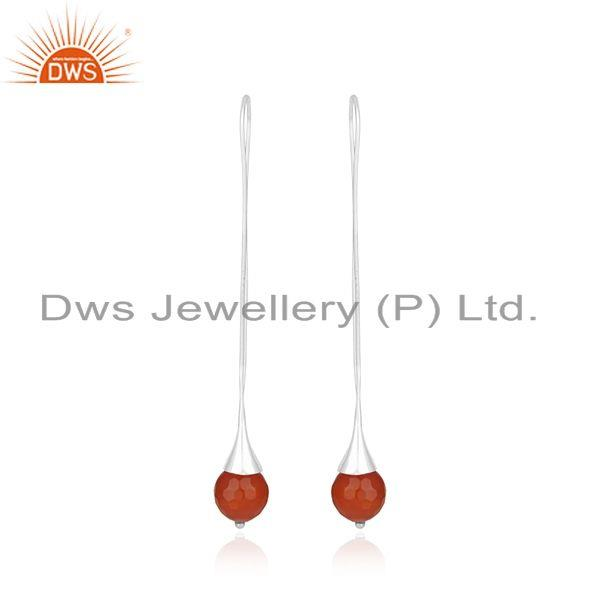 Natural Red Onyx Gemstone Designer Sterling Fine Silver Earrings