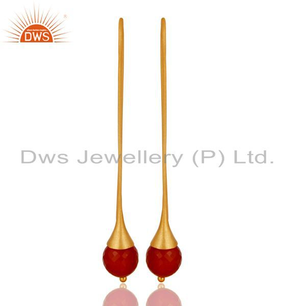 22K Gold Plated 925 Sterling Silver Red Onyx Faceted Dangle Earrings