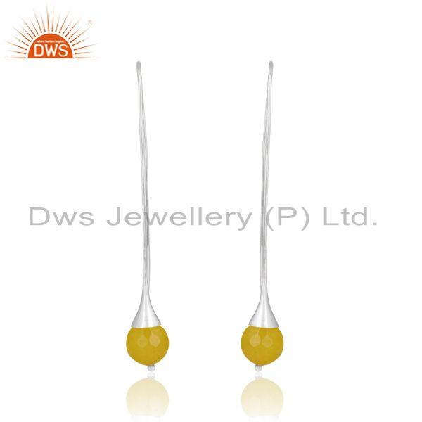 Long Organic Yellow Chalcedony Ball Drop Sterling Silver Earring