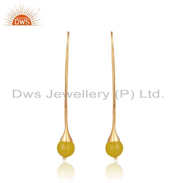 Long organic yellow chalcedony ball earring in gold on silver