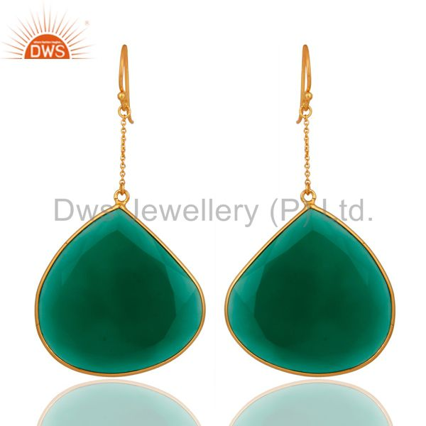 18K Yellow Gold Plated Sterling Silver Green Onyx Gemstone Bezel Dangle Earrings