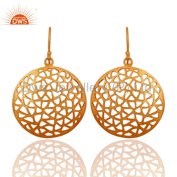 22K Yellow Gold Plated Sterling Silver Filigree Disc Design Dangle Earrings