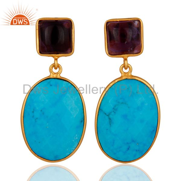 18K Gold Plated 925 Sterling Silver Turquoise & Amethyst Gemstone Drop Earrings