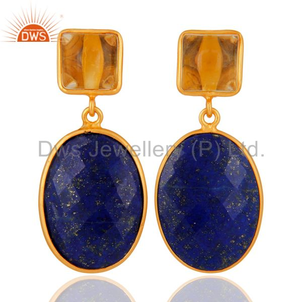 925 Sterling Silver Lapis Lazuli & Citrine Gemstone Drop Earring With Gold Plate