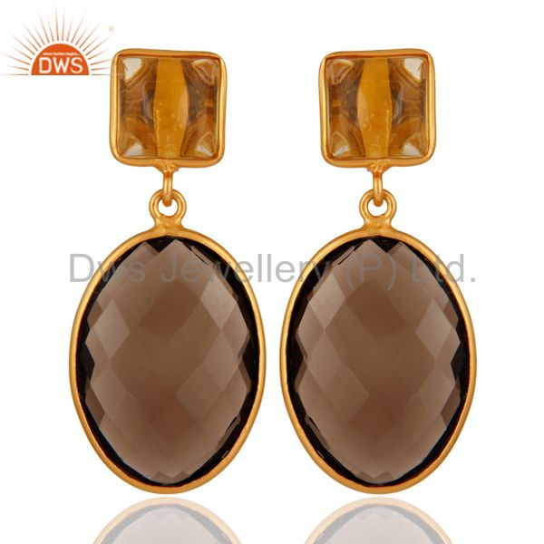 18K Gold Plated Citrine & Smoky Quartz Slice 925 Sterling Silver Drop Earrings