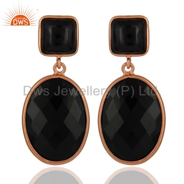18 Karat Rose Gold Plated 925 Sterling Silver Black Onyx Gemstone Drop Earrings