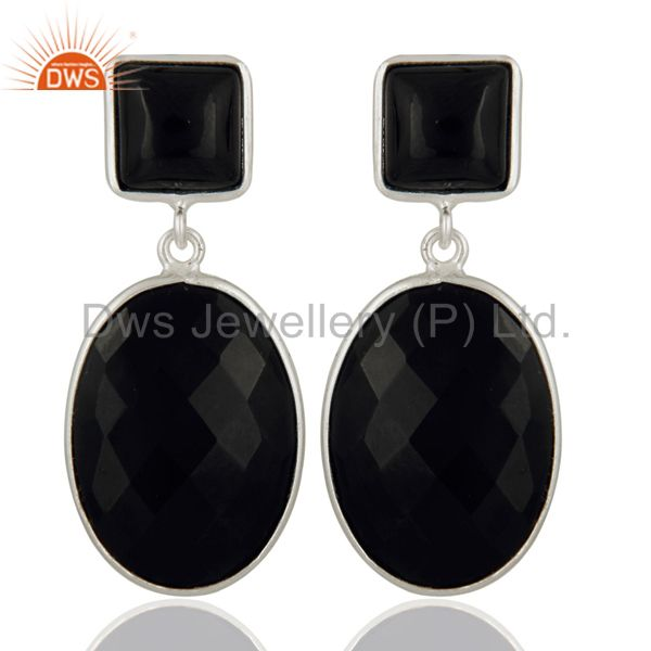 Handmade 925 Sterling Silver Bezel Set Black Onyx Checkerboard Cut Drop Earrings