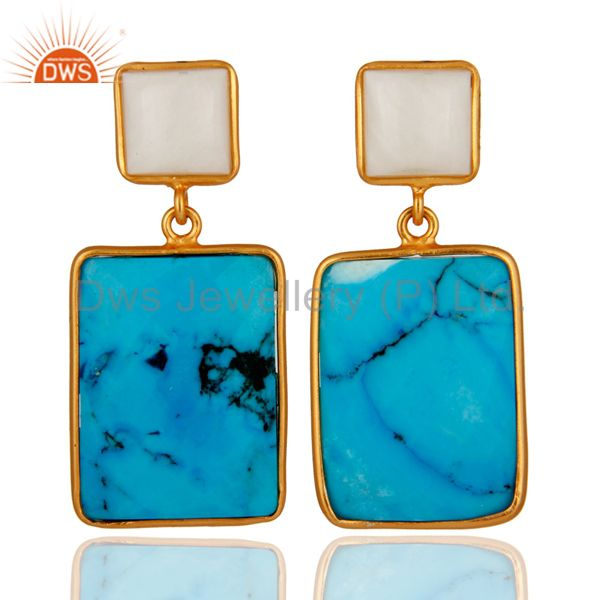 Natural Agate & Turquoise Slice 925 Sterling Silver 24k Gold Verneil Earrings