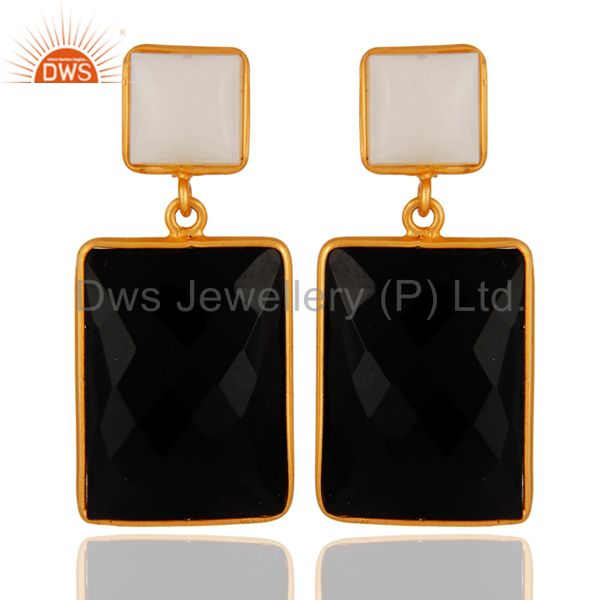 18K Yellow Gold Plated Sterling Silver Black Onyx And White Agate Dangle Earring