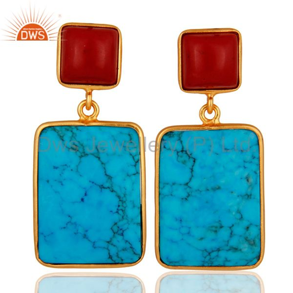 Handmade 18K Gold Over 925 Sterling Silver Turquoise and Coral Gemstone Earrings