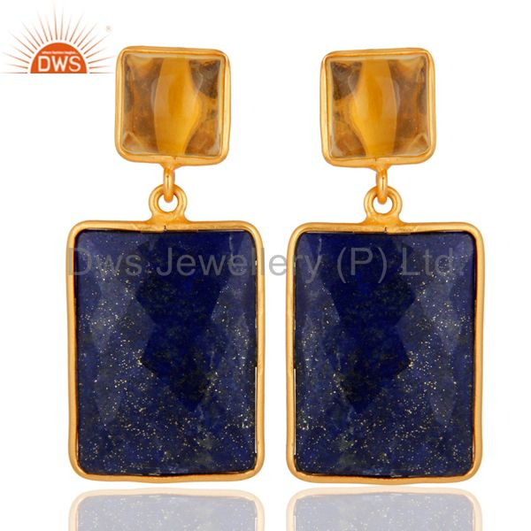 Citrine & Lapis Lazuli Gemstone 925 Sterling Silver 18K Gold Plated Earrings