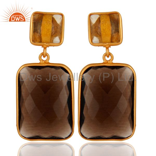 Gold Plated 925 Sterling Silver Smoky Quartz Faceted Slice & Citrine Earrings
