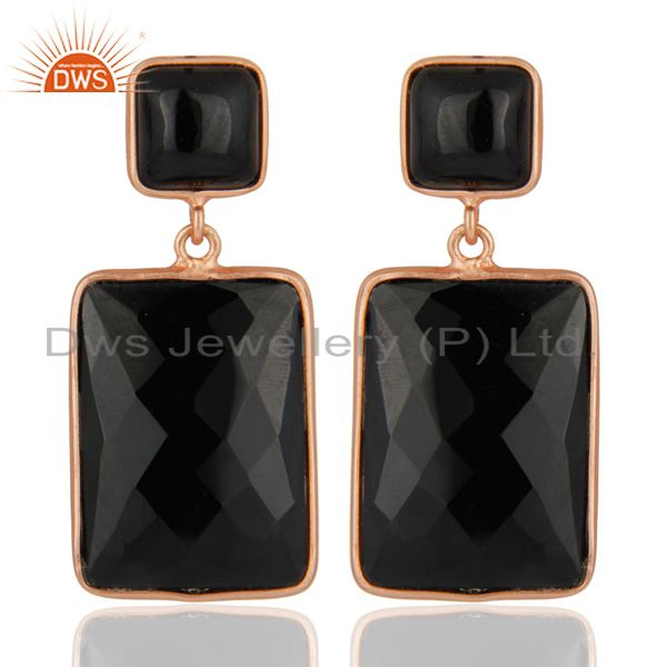 18K Rose Gold Plated Faceted Gemstone Black Onyx 925 Sterling Silver Earrings