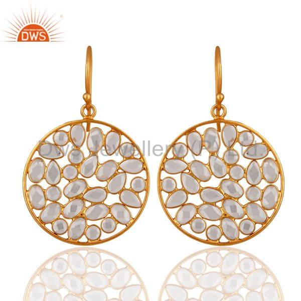 Handmade 18K Yellow Gold over 925 Sterling Silver White Zircon Dangle Earrings
