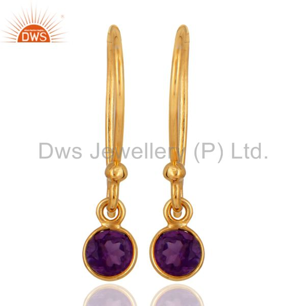 Natural Purple Amethyst Round Cut 18K Solid Yellow Gold Dangle Earrings