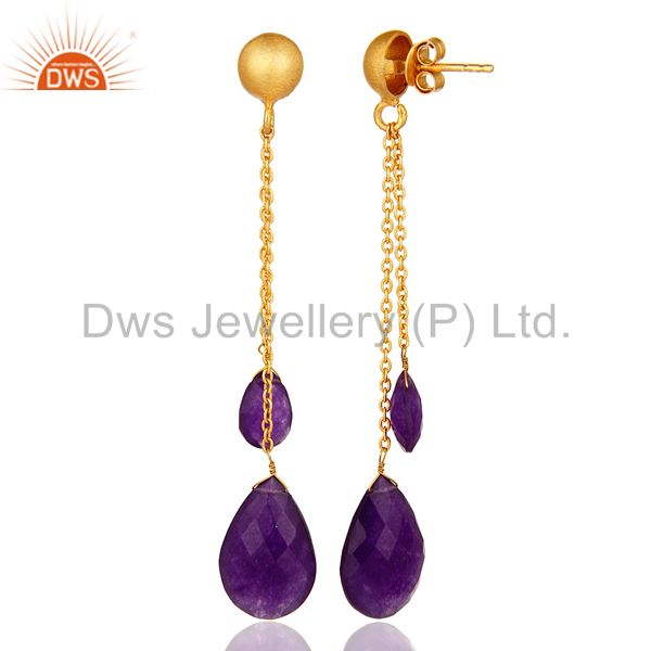 18K Yellow Gold Plated Silver Purple Chalcedony Chain Drop Dangle Earrings