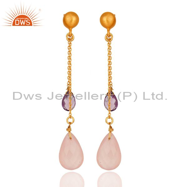 18K Gold Plated Sterling Silver Amethyst & Rose Chalcedony Chain Dangle Earrings
