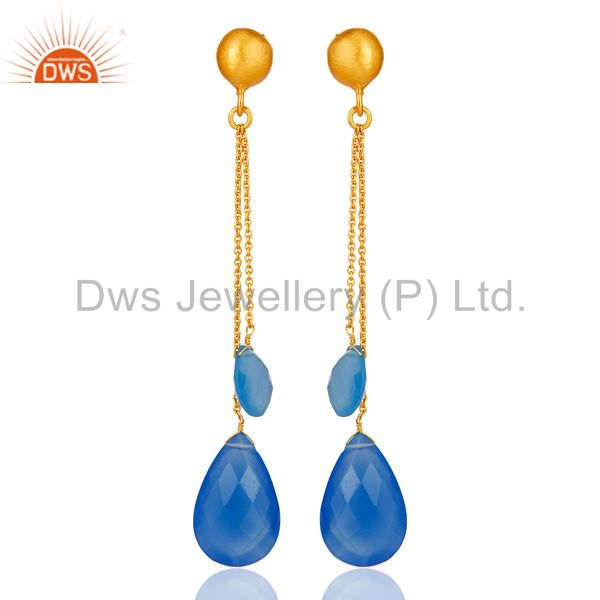 18K Yellow Gold Plated Sterling Silver Aqua Blue Chalcedony Briolette Earrings