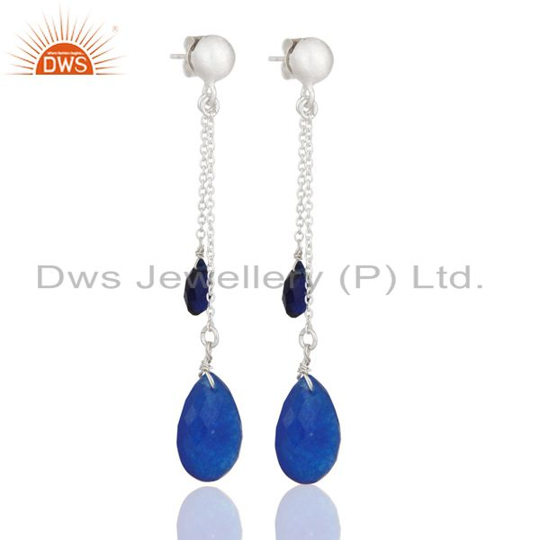 Dyed Sapphire Blue Corundum Solid Sterling Silver Drop Dangle Earrings