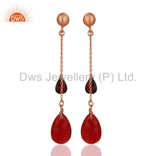 18K Rose Gold Plated Silver Garnet And Red Aventurine Chain Dangle Earrings