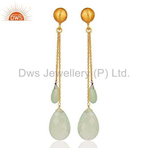 18K Yellow Gold Plated Sterling Silver Green Chalcedony Briolette Chain Earrings