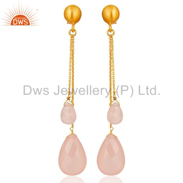 18K Gold Plated Sterling Silver Rose Chalcedony Briolette Chain Dangle Earrings