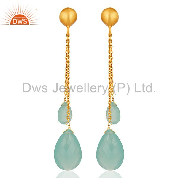 Aqua Blue Chalcedony Teardrop Chain Earrings Made In 18K Gold On Sterling Silver