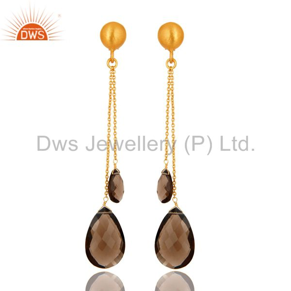 14K Yellow Gold Plated Sterling Silver Smoky Quartz Teardrop Chain Earrings
