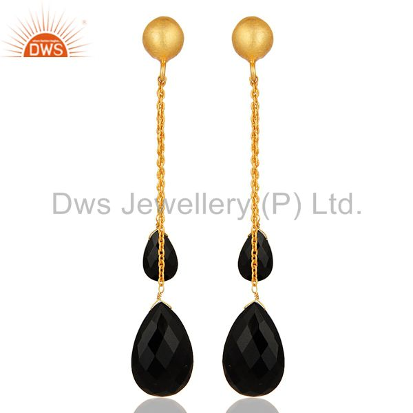 18K Yellow Gold Plated Sterling Silver Black Onyx Briolette Chain Dangle Earring