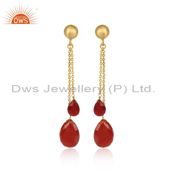 18K Yellow Gold Plated Sterling Silver Red Onyx Briolette Chain Dangle Earrings