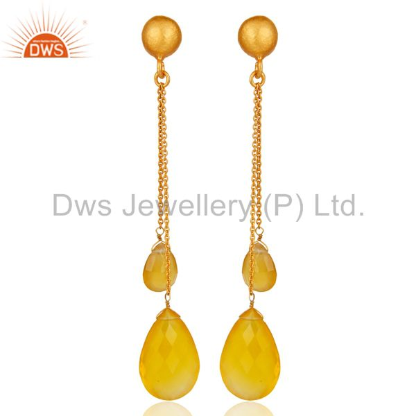 Faceted Yellow Chalcedony Drop Chain Earrings In 18K Gold Over Sterling Silver