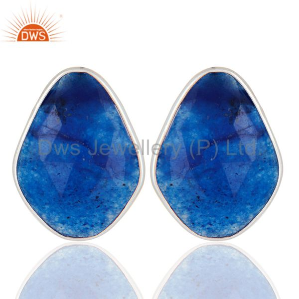 925 Sterling Silver Blue Aventurine Gemstone Bezel Set Womens Stud Earrings