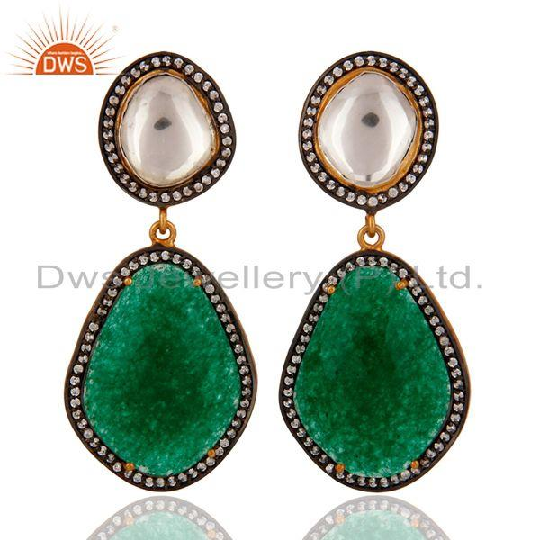 18K Gold Plated Sterling Silver Green Aventurine Gemstone Crystal Polki Earring