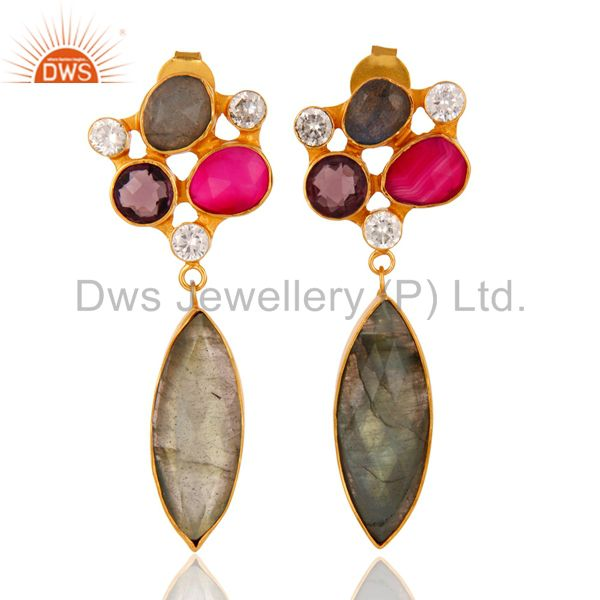 24K Gold Plated Labradorite And Amethyst Designer Earrings With CZ