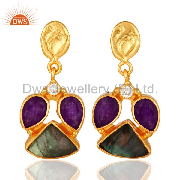 18K Gold Plated Labradorite And Purple Aventurine Designer Earrings With CZ