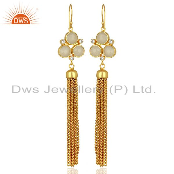 CZ White Chalcedony Gemstone Brass Fashion Earrings Jewelry Supplier