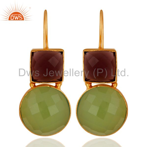 22K Yellow Gold Plated Brass Green Chalcedony And Hydro Amethyst Dangle Earrings