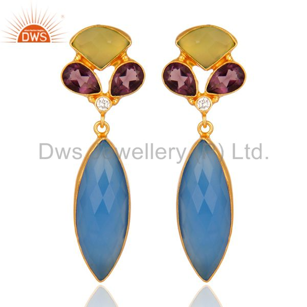 18K Yellow Gold Plated Brass Chalcedony And Hydro Amethyst Earrings
