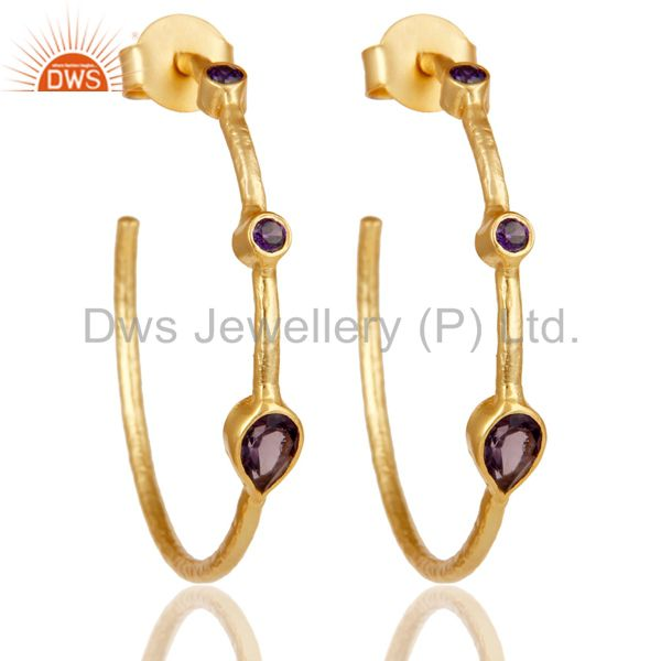 Hydro Amethys & Zirconia Studs Brass Earrings With 18K Yellow Gold Plated