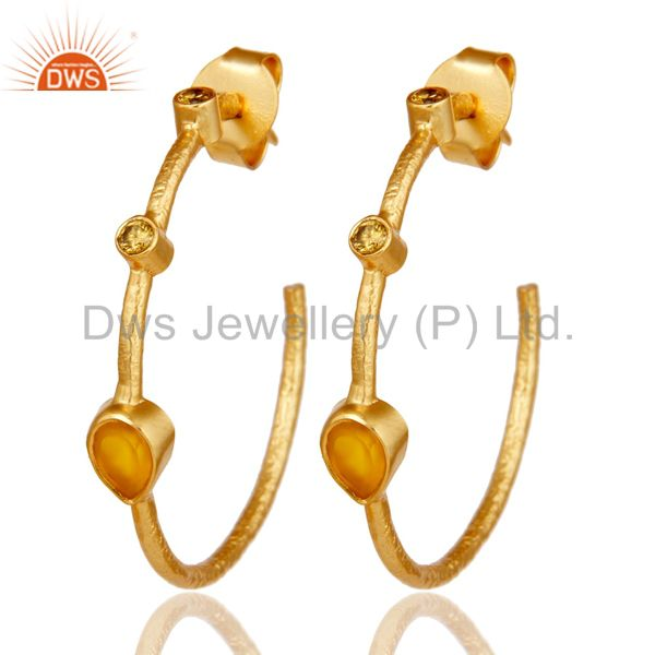 Chalcedony & White Zirconia Dangle Brass Earrings With 18K Yellow Gold Plated