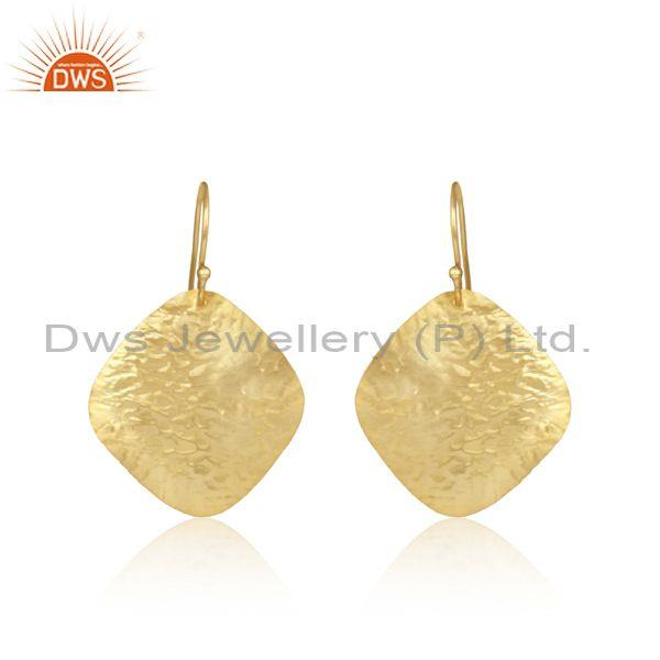Textured Handcrafted Yellow Gold on Fashion Plain Dangle