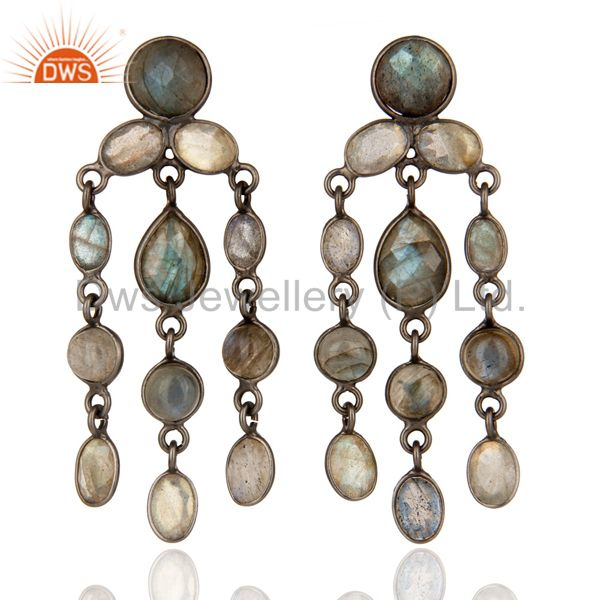 Natural Labradorite Gemstone Chandelier Earrings in Rhodium Plated 925 Silver