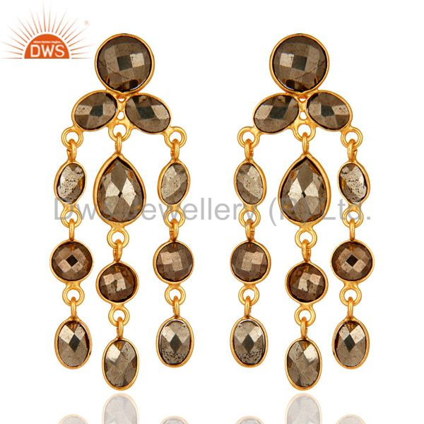 Bezel Set Pyrite Gemstone Chandelier Earrings In 18K GOld Over Sterling Silver